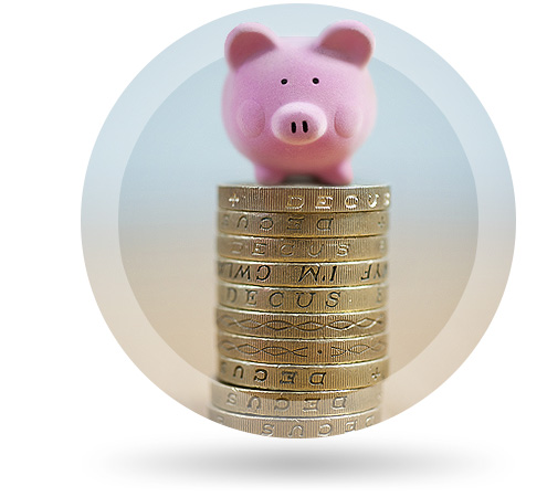 savings with piggy bank